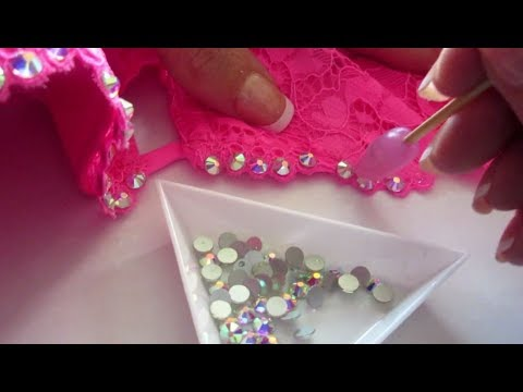 Tutorial on how to bling your bra with rhinestones