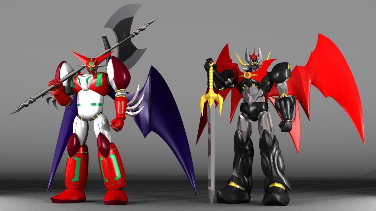 【3Dモデリング】Shadeでスーパーロボットをつくってみた『マジンカイザー対真ゲッターロボ』