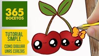 COMO DIBUJAR UNAS CEREZAS KAWAII PASO A PASO - Dibujos kawaii faciles - How to draw a cherry