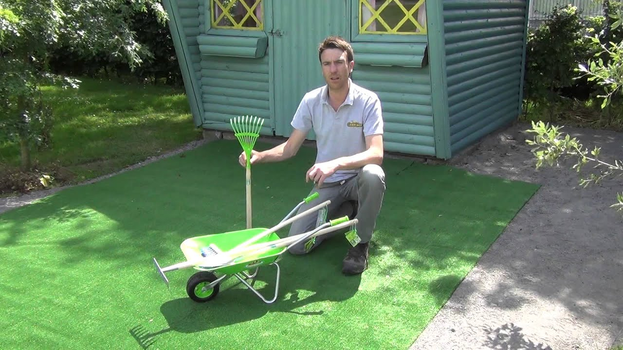 Kids Wheelbarrow Amp Garden Tools Set Youtube