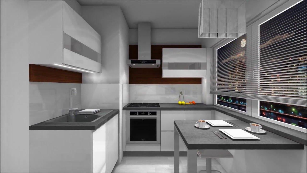 Projekt Meble kuchenne w bloku M  k  YouTube -> Kuchnie W Bloku Male