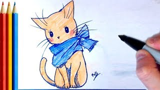 How to Draw a Cat in a Scarf - Step by Step Tutorial