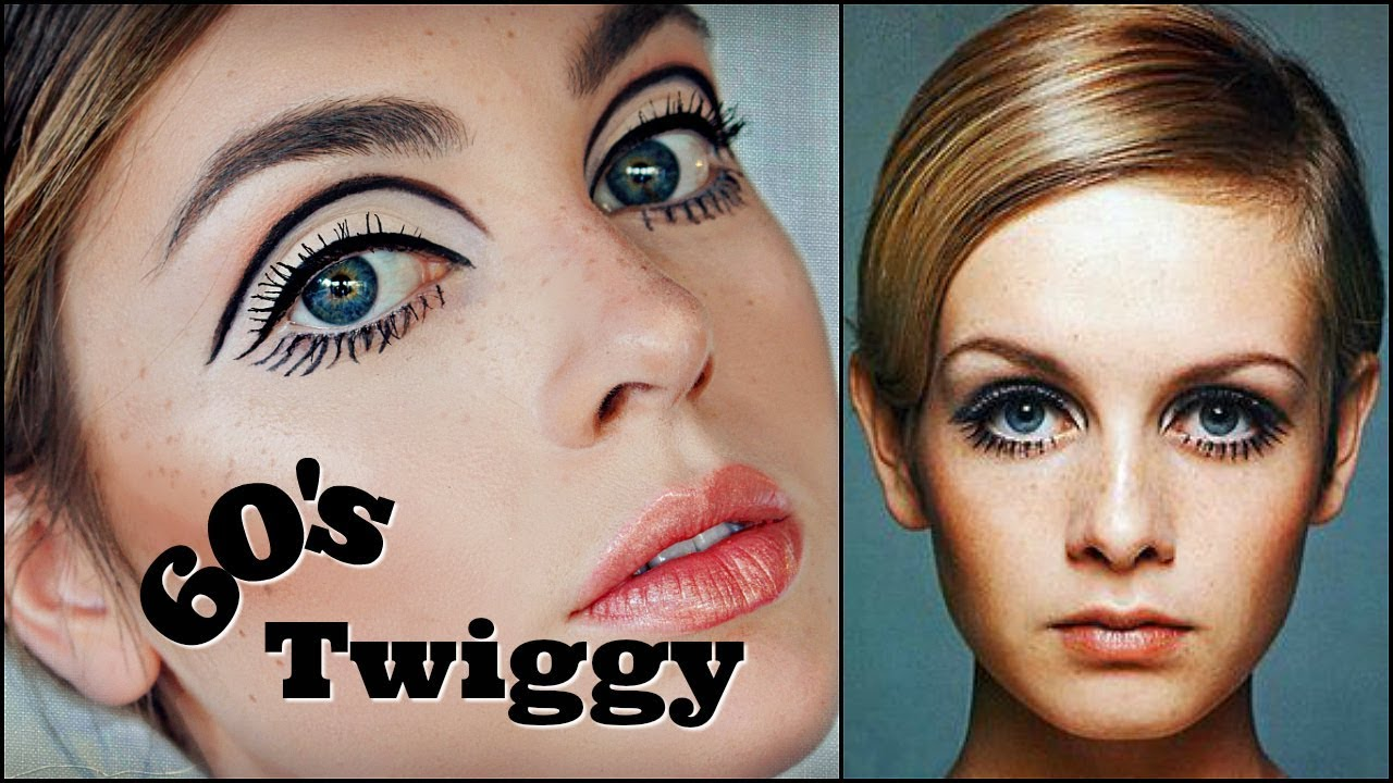 twiggy 60s makeup tutorial | mod graphic liner & eyelashes | 1960s transformation