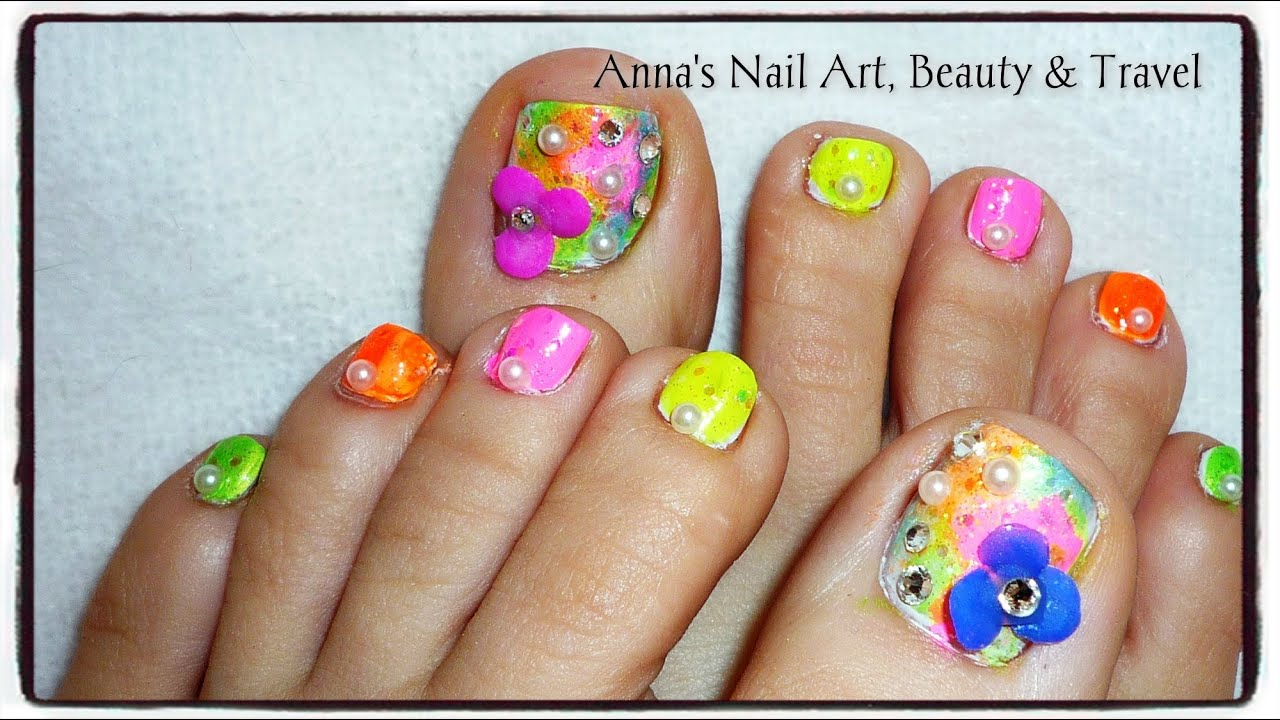 3d floral spring petals toe nail art tutorial youtube prinsesfo Images