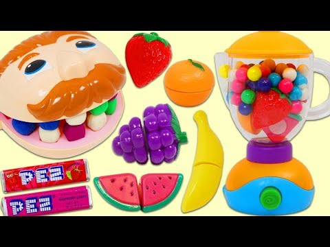 Feeding Mr. Play Doh Head Toy Velcro Cutting Fruit and Candy Slime Smoothies!