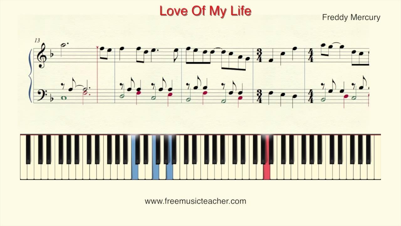 love of my life piano sheet pdf free
