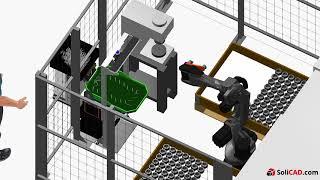 Robotizovaná obsluha CNC soustruhu a lisu Domako / SoliCAD