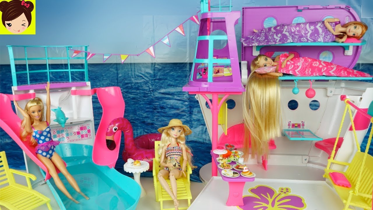 Barbie rutina de ma ana con rapunzel elsa crucero de - Limpiar la casa de barbie ...