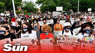 Demonstrators gather in Brooklyn, New York to protest Floyd death