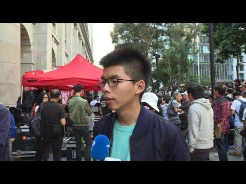 Joshua Wong leads 'anti-authoritarian' march in Hong Kong