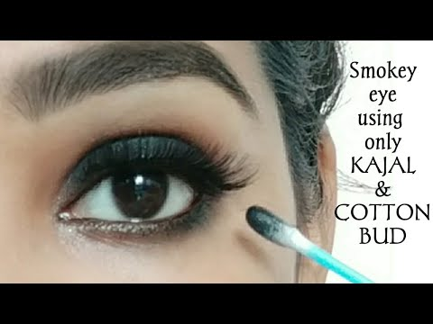 Smokey eye makeup using ONLY cotton buds/Qtip |Smokey eye makeup with kajal/how to apply