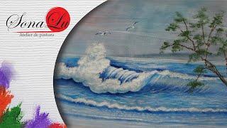 Mar com Onda em Tecido por Sonalupinturas