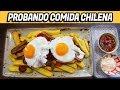 Trying Chorrillana and Malta con Leche - Coreana Probando Comida Chilena