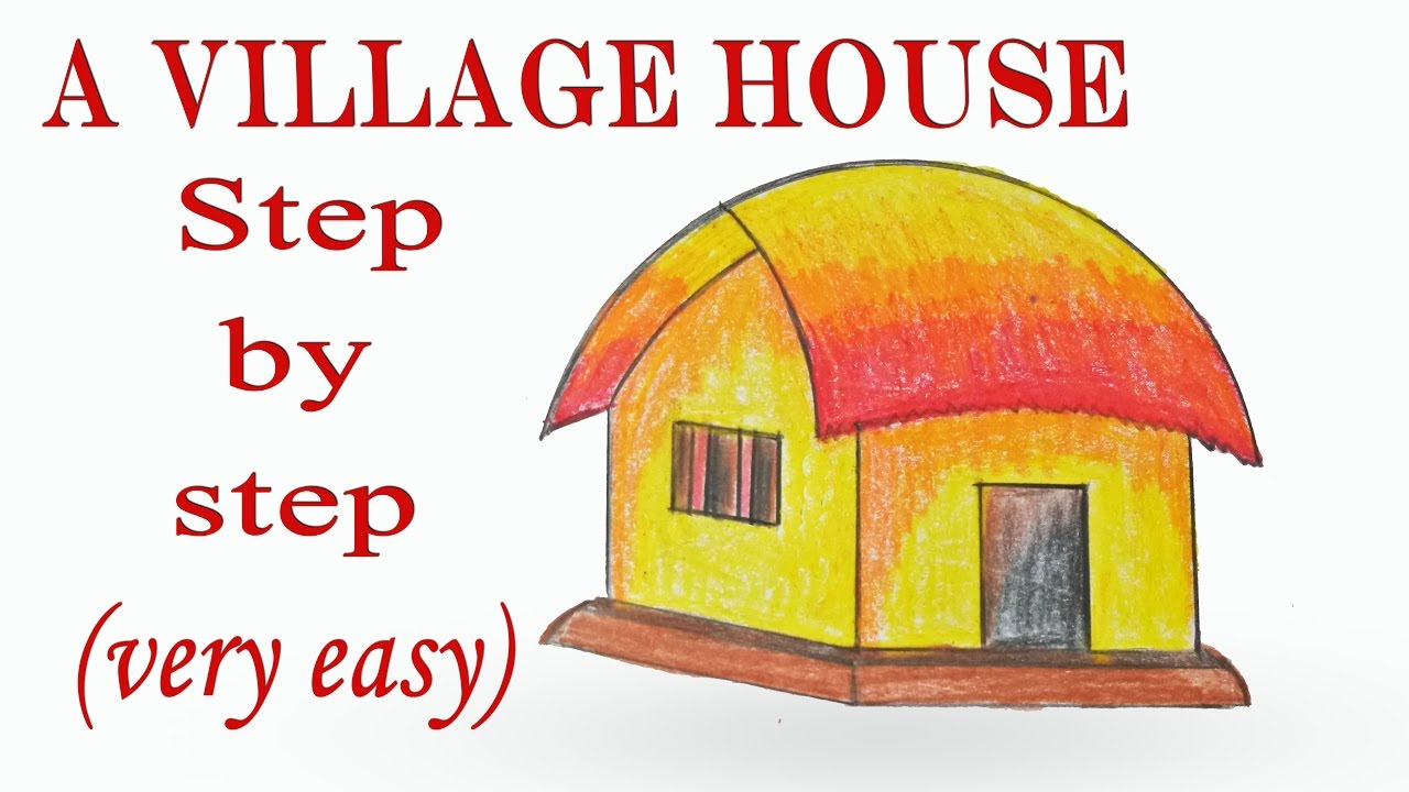 How To Draw A Village House Hut Step By Very Easy