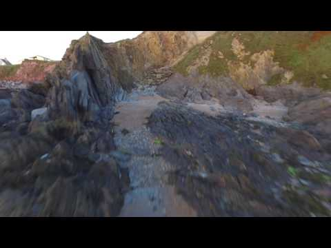 Summer Evening At South Milton (Thurlestone) Sands: Drone Footage Inc Fly-through Of The Thirl Stone