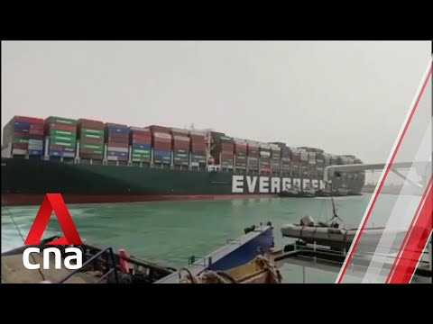 The Suez Canal remains blocked by a 400m-long container ship