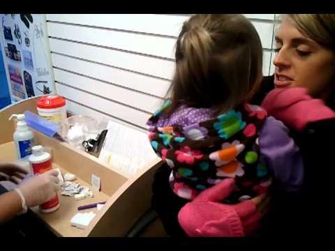 2 year old getting ear pierced - YouTube
