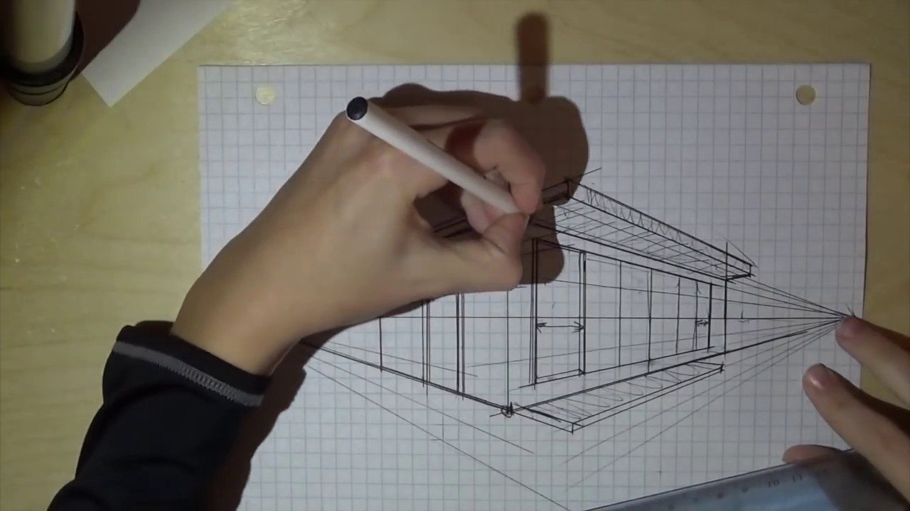 How To Draw A House In 2 Point Perspective Youtube