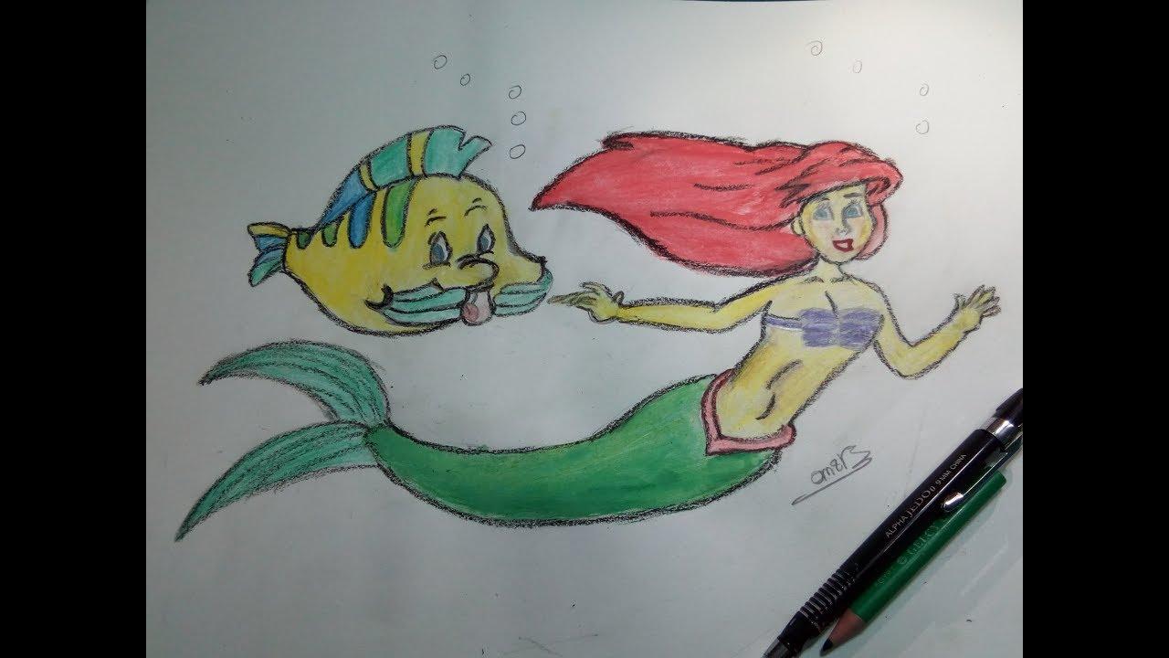 تعليم الرسم للاطفال طريقة رسم حورية البحر اريل والسمكة فلتة للمبتدئين Omar Khaled Youtube