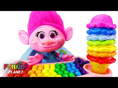 Thumbnail: Learn Colors Videos for Kids: Trolls Poppy High Chair & Rainbow Ice Cream Cone with Paw Patrol Skye