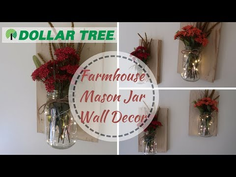FARMHOUSE DECOR DIY | DOLLAR TREE DIY | FALL MASON JAR WALL DECOR | COLLAB WITH KRAFTSBYKATELYN