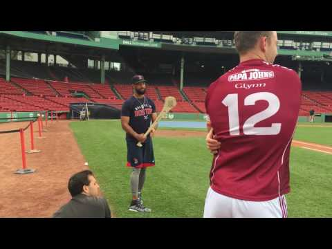 Red Sox Chris Young, Deven Marrero get a lesson in Hurling from Gary Maguire, GAA hurlers