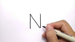 WOW BANGET, cara menggambar huruf N jadi gambar NAGA, NINJA, NEMO
