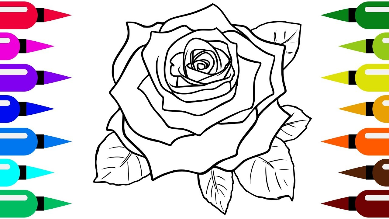 How to draw a rose flower for kids and toddlers - YouTube