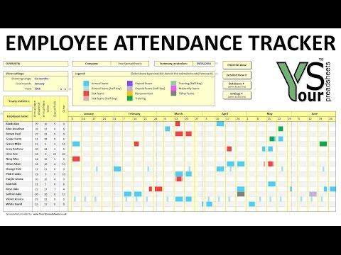 Employee Attendance Tracker spreadsheet - YouTube