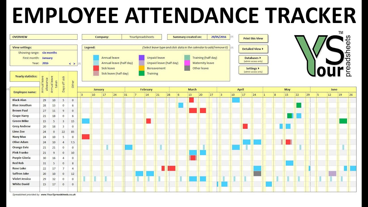 Employee Attendance Tracker spreadsheet YouTube – Office Attendance Sheet Excel Free Download