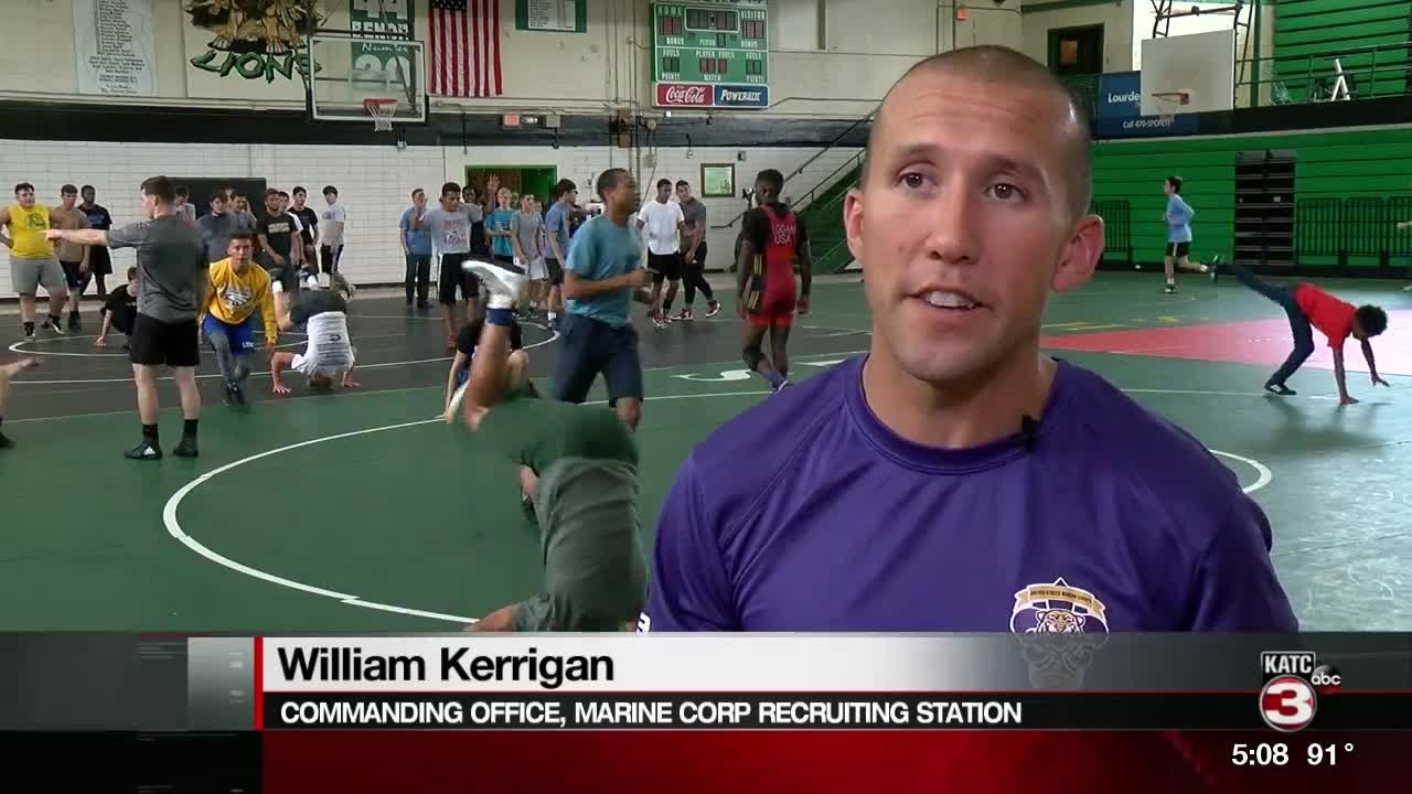 us marines team holds clinic for high school wrestlers youtube
