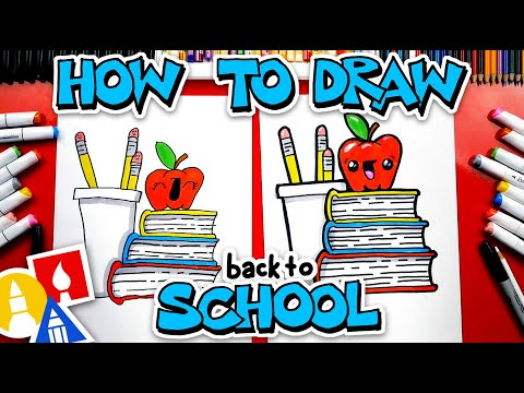 Back To School! How To Draw A Stack Of Books An Apple And Pencils