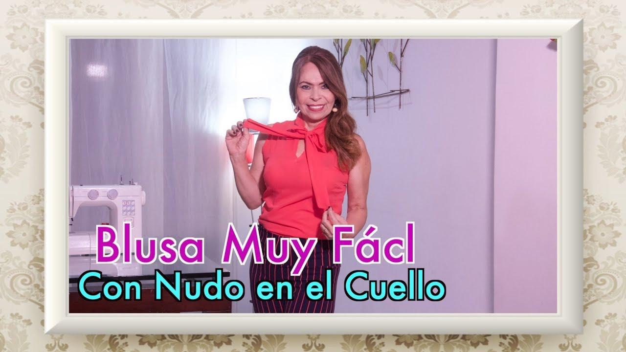 4462af0f2 DIY Blusa Muy Fácil con Nudo en el Cuello - Very Easy Blouse with Knot in  the Neck - Omaira tv
