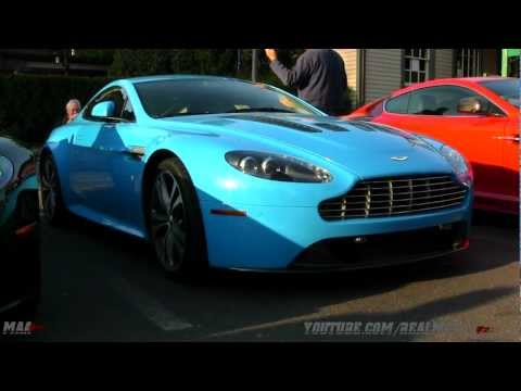 Modded Aston Martin Vantage Baby Blue And Bmw 1m Matte Black Wrapped Video