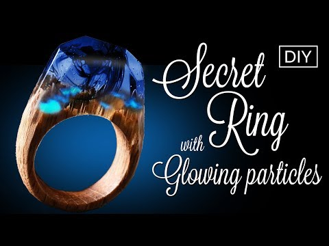 Resin Secret Wood Ring  with Glowing particles DIY