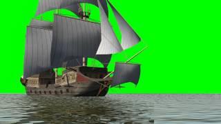 historic sailing ship - green screen