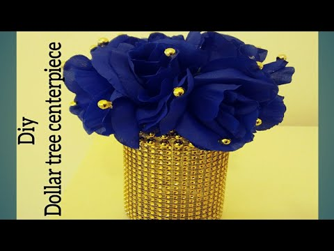 DIY ROYAL BLUE AND GOLD CENTERPIECE.DECOR MADE WITH DOLLAR TREE ITEMS AND RECYCLED GLASS BOTTLE VASE