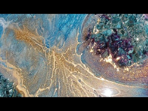 Gold pop!! Resin art tutorial #fluidart #pouring #demo #DIY #art #asmr #epoxy #resinart #fluidpaint