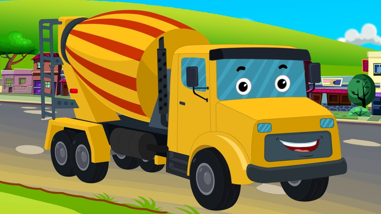 kids channel cement mixer vehicles for kids trucks for kids kids video youtube. Black Bedroom Furniture Sets. Home Design Ideas