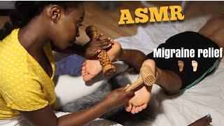(ASMR) Reflexology Migraine Relief 🙇🏽♂️/ Pressing Feet 🦶🦶🏾Pressure Points