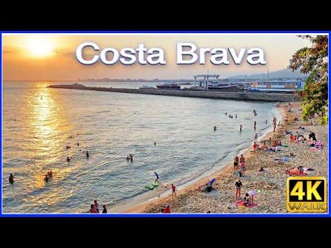 4k WALK Roses Spain BEACH Slow TV Walking Tour 4k VIDEO