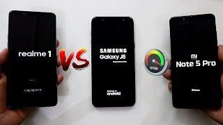 Samsung J8 Vs Redmi Note 5 Pro Vs Realme 1 SpeedTest Comparison I Hindi