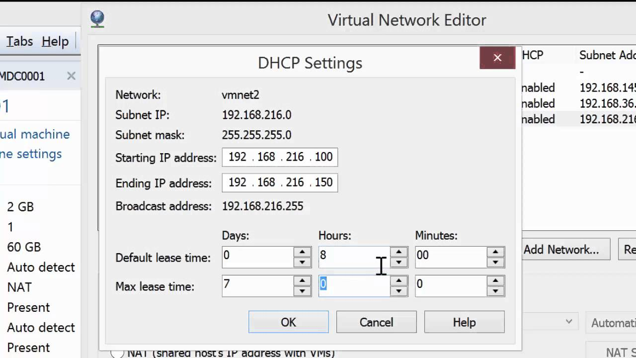 Configuring a Virtual Network with DHCP in VMware