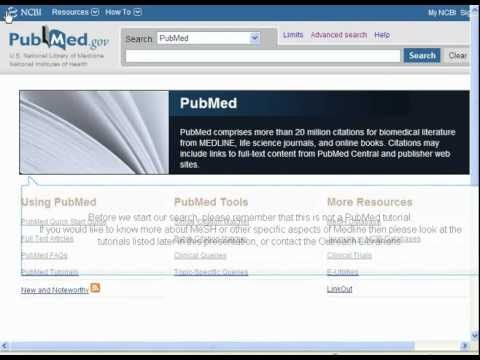 Finding the evidence 3 - Turning your search strategy into results: PubMed demonstration