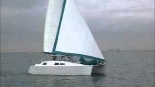 Mirage 36 sailing catamaran in Biscayne Bay.wmv