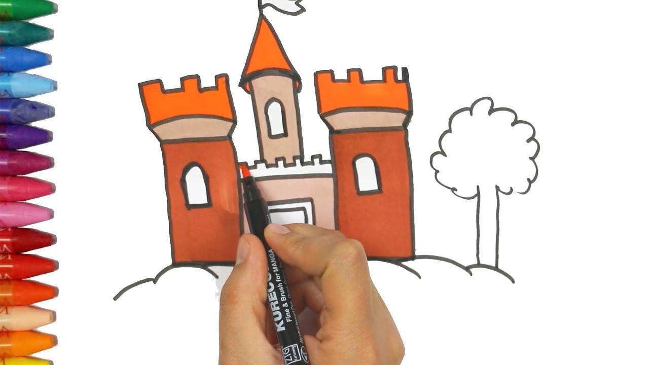 Gambar Dan Pewarnaan Kastil Cara Menggambar Dan Mewarnai Tv Anak