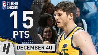 Kyle Korver Full Highlights Jazz vs Spurs 2018.12.04 - 15 Points off the Bench!