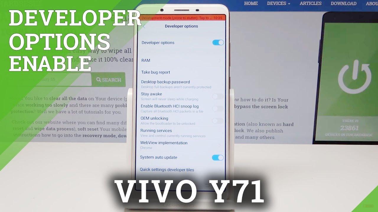 VIVO Y71 Developer Options / OEM Unlock / USB Debugging