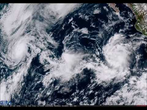 GOES-16 Sees Three Tropical Systems in the Eastern Pacific