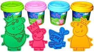 Peppa Pig Royal Family Molds and Play Doh with Princess Peppa Daddy King Mummy Queen Sir George Toys thumbnail
